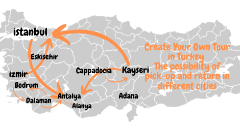 Create Your Own Tour in Turkey - The possibility of pick-up and return in different cities